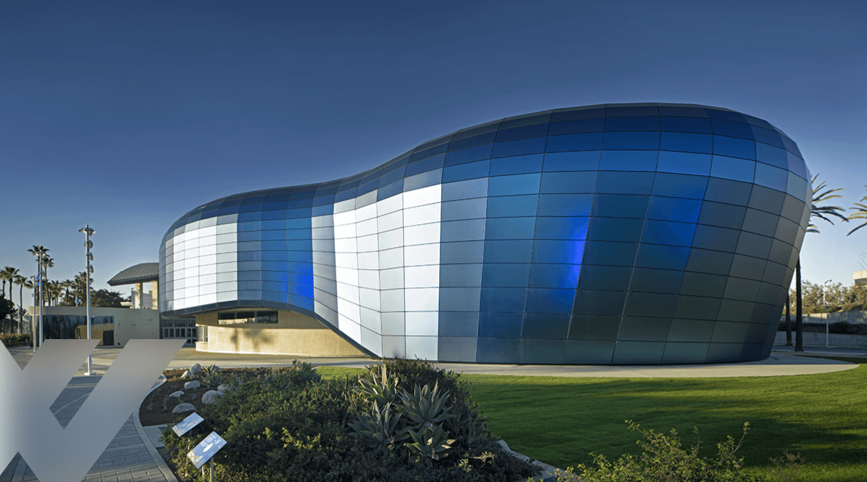 Aquarium of the Pacific building showcasing acid-etched glass laminated to other glass substrates